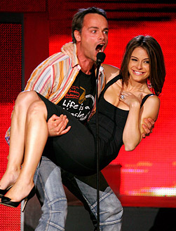 Maria Menounos and Michel Ancel - 2005 Spike TV Video Game Awards